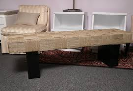 Wooden Bench With Woven Seat