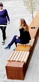 contemporary public space furniture design bd love. Contemporary Public Bench In Wood And Metal CORTEN SEAT STRIPS Streetlife Space Furniture Design Bd Love