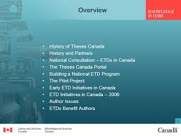 an overview of theses and etd initiatives at library and  2 2