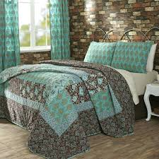 stylish quilted comforter sets queen turquoise amp brown cotton quilt bedding decor quilts size bedroomore tulare top of ideas