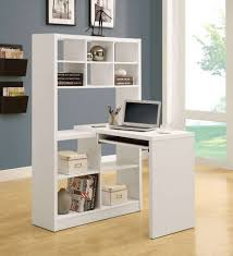 tiny office space. L Shape White Modern Small Corner Computer Desk Ideas With Plaid Book Shelves Als Textured Wood Floor Smart Savvy Solution For Tiny Office Space