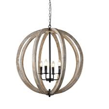 y decor capoli 4 light wooden orb neutral chandelier