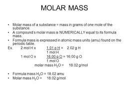 Molar Mass Molecular Mass The Molecular Mass Of A Substance