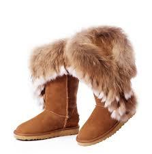 Ugg Fox Fur Tall Damen Stiefel 8688 Chestnut Germany,ugg hausschuhe,ugg  handschuhe,