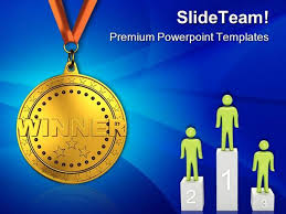 Blue And Gold Powerpoint Template Gold Medal Sports Powerpoint Templates And Powerpoint Backgrounds