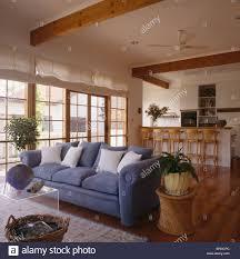 Open Plan Living Room Decorating Modern Blue Sofa In Open Plan Living And Dining Room With