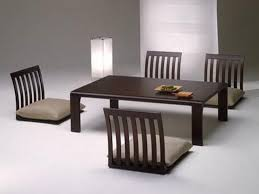 japanese dining table for upholstered in light gray faux leather square shine minimalist glass mirror rectangular walnut oak wooden chair brown gloss