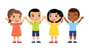 Groupe International De Jeunes Enfants Heureux Le Concept De Vacances Pour  Enfants Personnages De Dessins Animés Mignons   Vecteur Gratuite