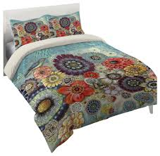 blue bird boho king comforter