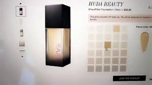 Huda Beauty Foundation Shade Matching Guide Faux Filter