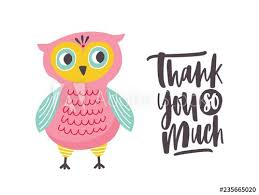 Thank You Cursive Font Funny Owl And Thank You So Much Phrase Handwritten With