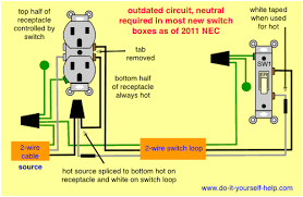 wiring diagrams for switch to control a wall receptacle do it Ac Outlet Wiring Diagram wiring for a split receptacle 220 volt ac outlet wiring diagram