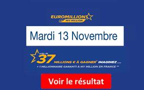 FDJ: Résultat Euromillions, My Million tirage du Mardi 13 Novembre 2018 [En  Ligne]