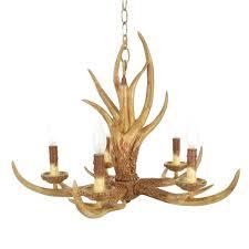 hampton bay 5 light chandelier natural antler hanging the
