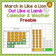 Free March In Like A Lion Out Like A Lamb Calendar Weather