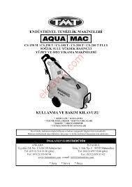 Aquamac CS-150 M YÜKSEK BASINÇLI SOĞUK YIKAMA MAKİNESİ Yüksek Basınçlı  Yıkama Makinaları - Kullanma Kılavuzu - Sayfa:1 - ekilavuz.com