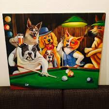original oil painting on canvas of dogs playing pool
