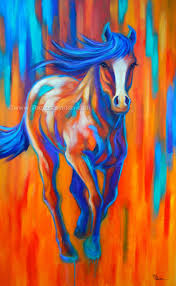 colorful vibrant large horse painting by theresa paden
