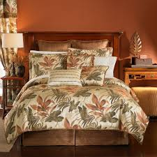 interior leaf pattern white tropical bedding sets with brown wooden bed having high headboard on