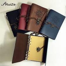 ruize vintage travelers notebook diary a6 leather journal refillable blank pages kraft paper sketchbook 6 ring binder sprial