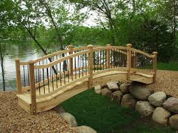 full line of wooden garden bridges pedestrian bridges