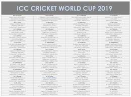 World Cup Tournament Chart Image Of 2019 Cricket World Cup Matches World Cup
