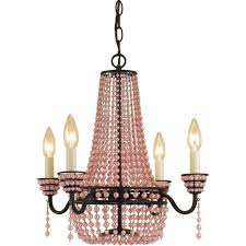 af lighting parlor 4 light bronze mini chandelier with pink beads