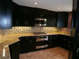 Kitchen Cabinet Espresso Color Espresso Cabinets With A Fun Subway Tile Backsplash Kitchen