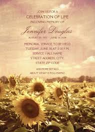 memorial service invitation country sunflower field memorial service invitations customized