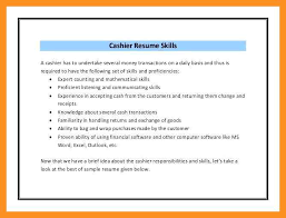 9 10 Sample Resume For Cashier Position Crystalray Org