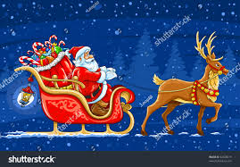 santa claus and reindeer. Plain Santa Christmas Santa Claus Moving On The Sledge With Reindeer And Gifts  Vector  Illustration To And Reindeer L