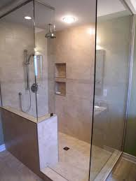 Joyous Rain Shower For Doorless Shower As Wells As Small Bathroom Design  And Ceiling Lights In Tiled ...