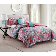 vcny home casa re al multi color paisley 4 5 piece reversible bedding duvet cover set decorative pillows and shams included com
