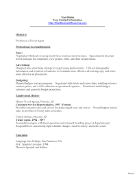 Resume Sample For Travel Agent Example Objective Form Sample