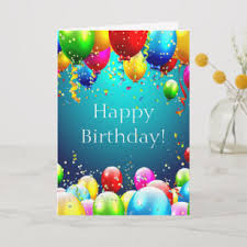Card Bday Happy Birthday Blue Colored Balloons Customize Card