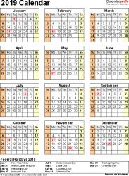 Calendar 2019 Printable With Holidays 2019 Calendar 17 Free Printable Word Calendar Templates