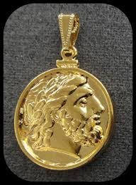 coin pendant zeus king of gods  k gold plated amazoncouk