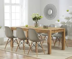 verona 150cm solid oak extending dining table with charles eames style dsw eiffel chairs eameschair
