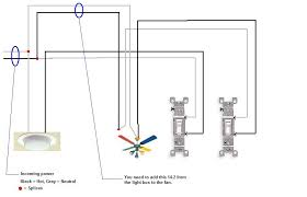 how to wire a ceiling fan light switch images wire a ceiling ceiling fan light fixture wiring diagram am using two single pole switches one to the light and on