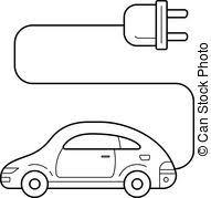 車 ベクトル 電気である イラスト 最小である 概念 Ev