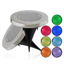 Solar Powered Rgb Led Ground Buried Light Color Changing Waterproof For Outdoor Garden Path Decor