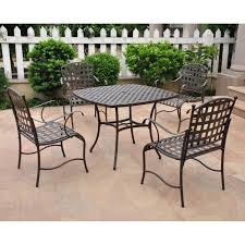 iron patio furniture dining sets. Simple Furniture International Caravan Santa Fe 4Person Wrought Iron Patio Dining Set   Matte Brown  Ultimate Intended Furniture Sets