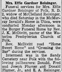 Effie Gardner Reisinger, June 1950 - Newspapers.com