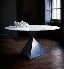 ava dining table size d147cm 58 top lilac marble base bronze with bespoke patination