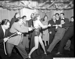 Super strong Joan Rhodes in a tug-of-war, 1953. : OldSchoolCool