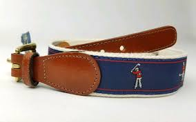details about leather man ltd golfer leather tab belt brass buckle size 32 golf swing blue