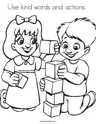 Educational fun kids coloring pages and preschool skills worksheets. Use Kind Words And Actions Coloring Page Twisty Noodle