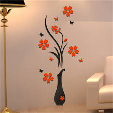home decoration 3d flower vase wall stickers entrance sticker decorations for home