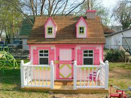 lawn garden cute pink simple small garden playhouse design ideas with modern white painted wood fence also small brown wood deck patio plus double