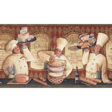 Allen Roth 10 14 Red The Bakery Shop Prepasted Wallpaper Border